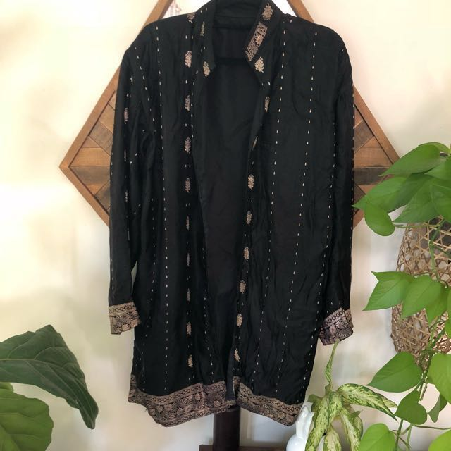 Black embroidered silk coat