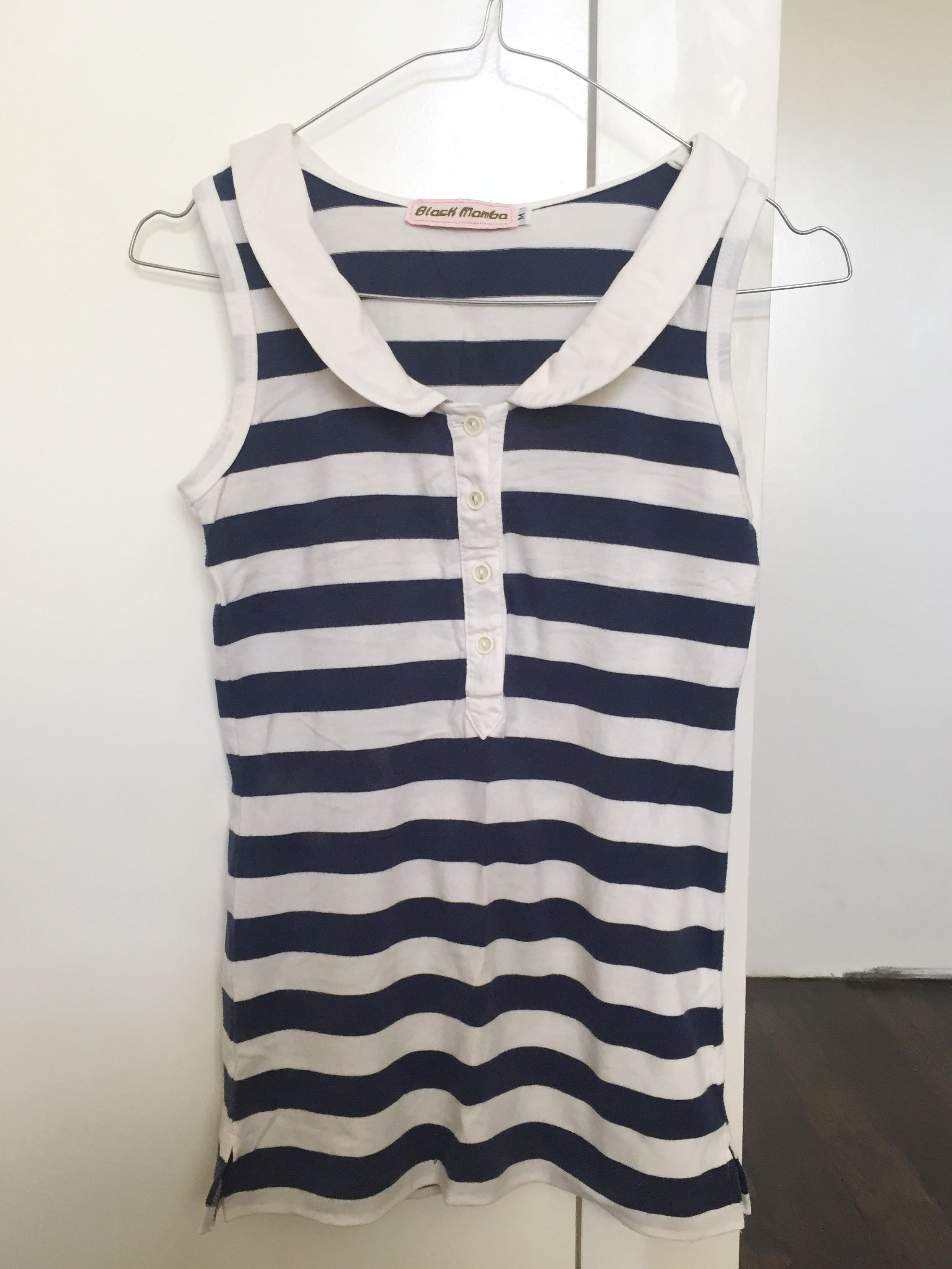 Blue and White Stripes Sleeveless Top
