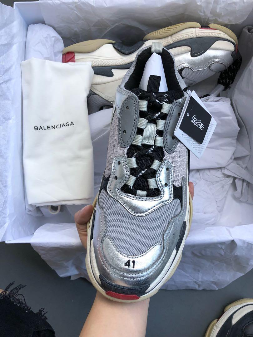 BN Balenciaga Triple S Silver, Men's