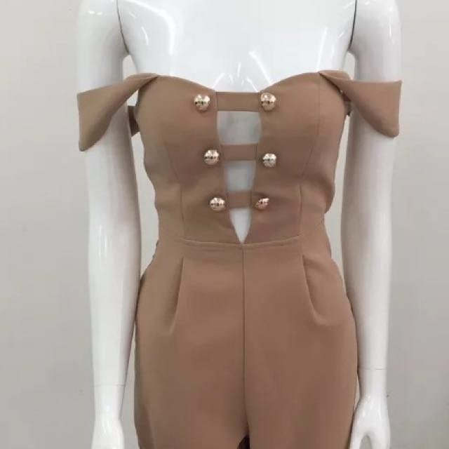 Brand new beige off the shoulder jumpsuit size 6 & 8 available