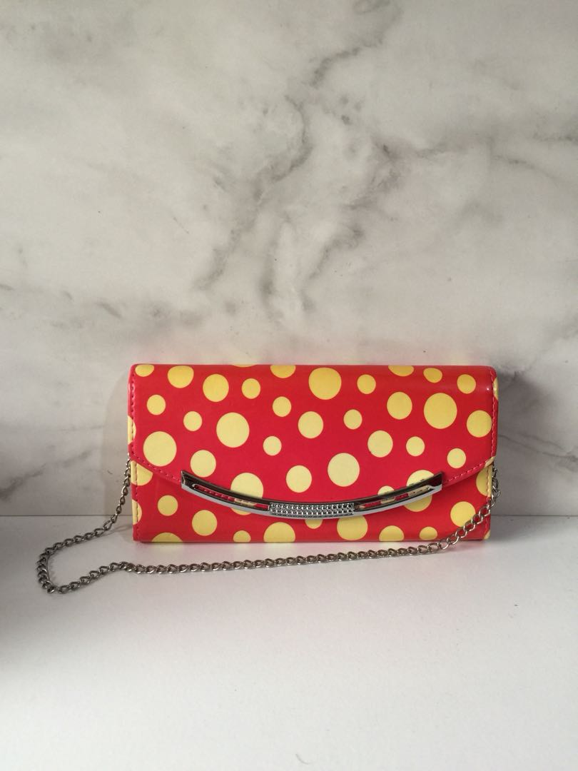 CLUTCH WALLET Polkadot Pink Yellow