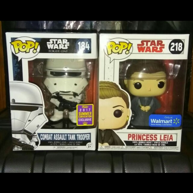 (ON HAND) Combat Assault Tank Trooper & Princess Leia Star Wars Funko Pop Bundle