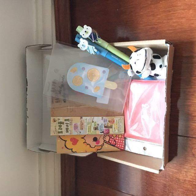 Cute monthly subscription boxes memo notes stickers plushie toys pens