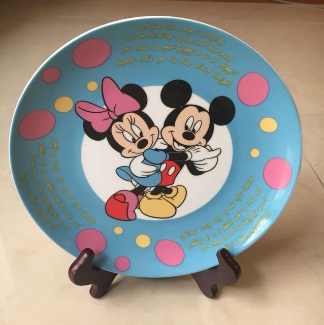 Disney 米奇盤+木製盤架