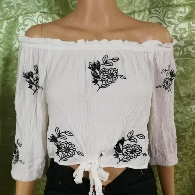 Embroidered Cropped Off Shoulder Top