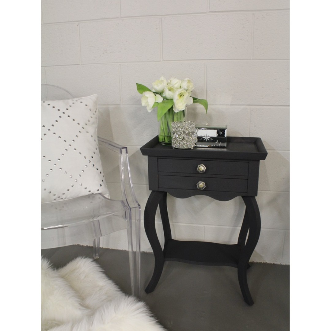 END TABLE / NIGHT STAND WITH GLASS & BRASS TONE KNOBS, ANY COLOUR