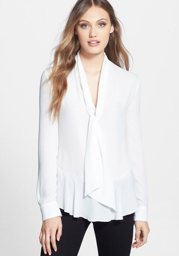 Express sheer tie neck blouse in black only (S-M)