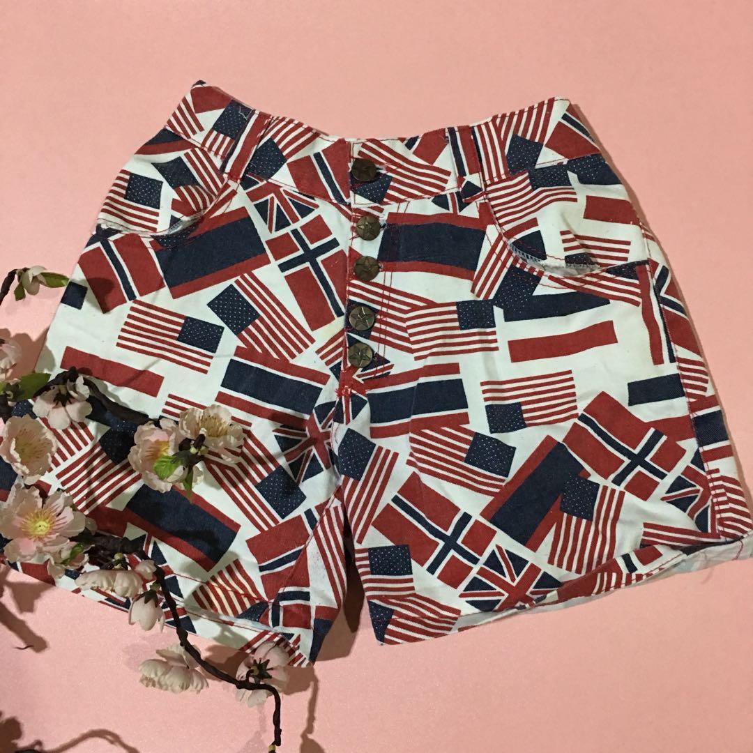 Flag high waist short pants