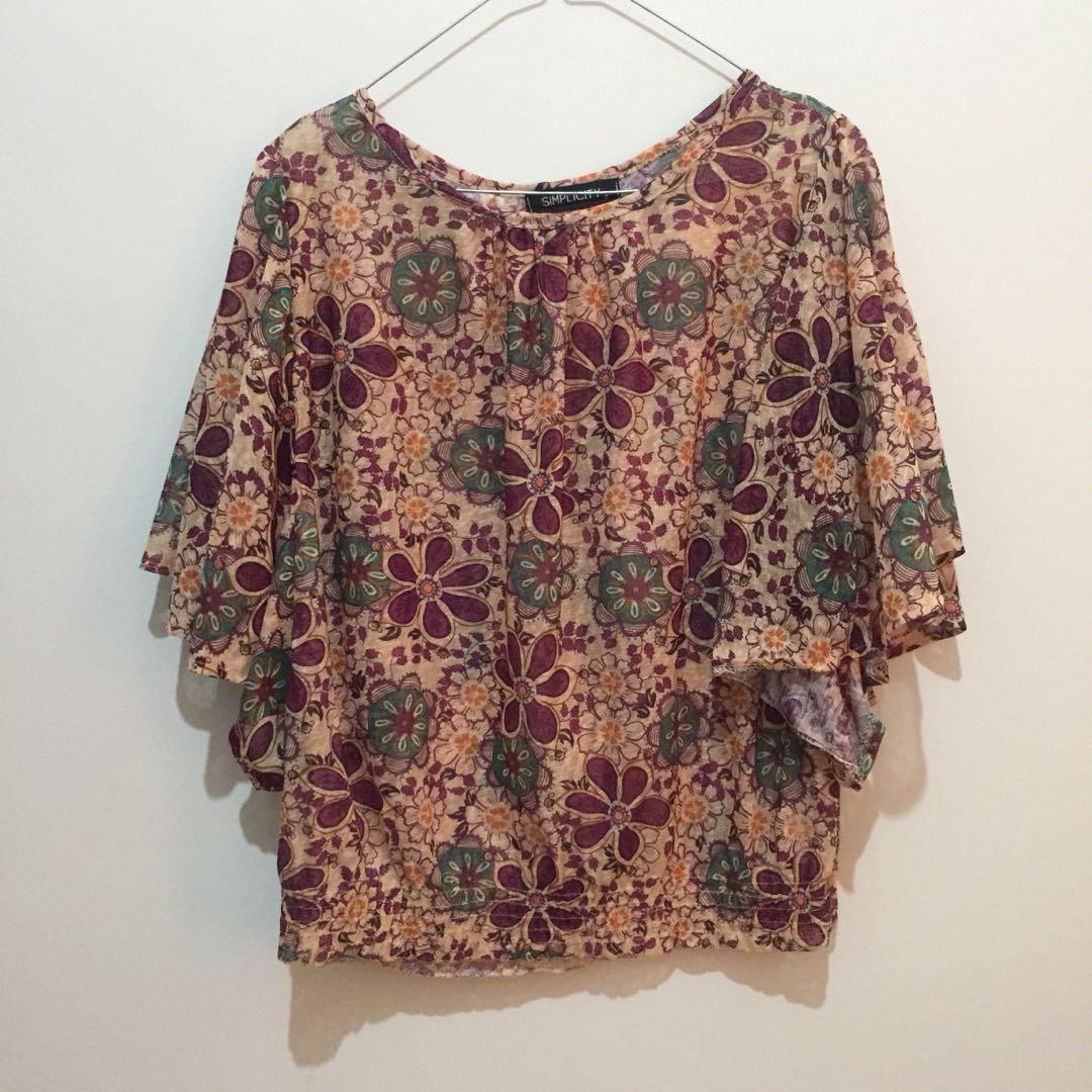 Flower blouse coklat simplicity