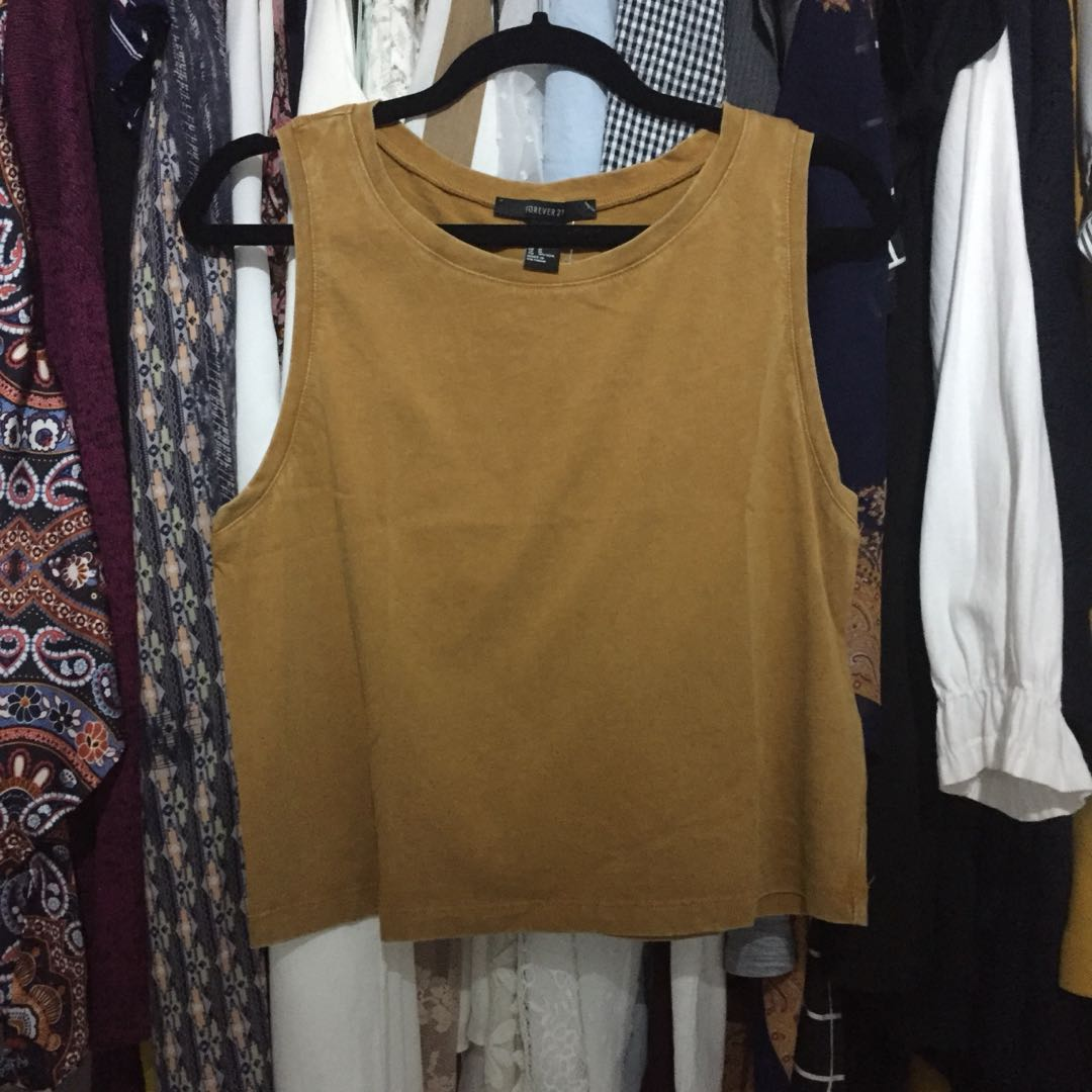 Forever 21 brown/mustard basic top