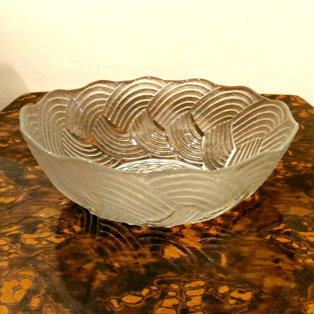 Frosted Pressed Glass Punch Bowl