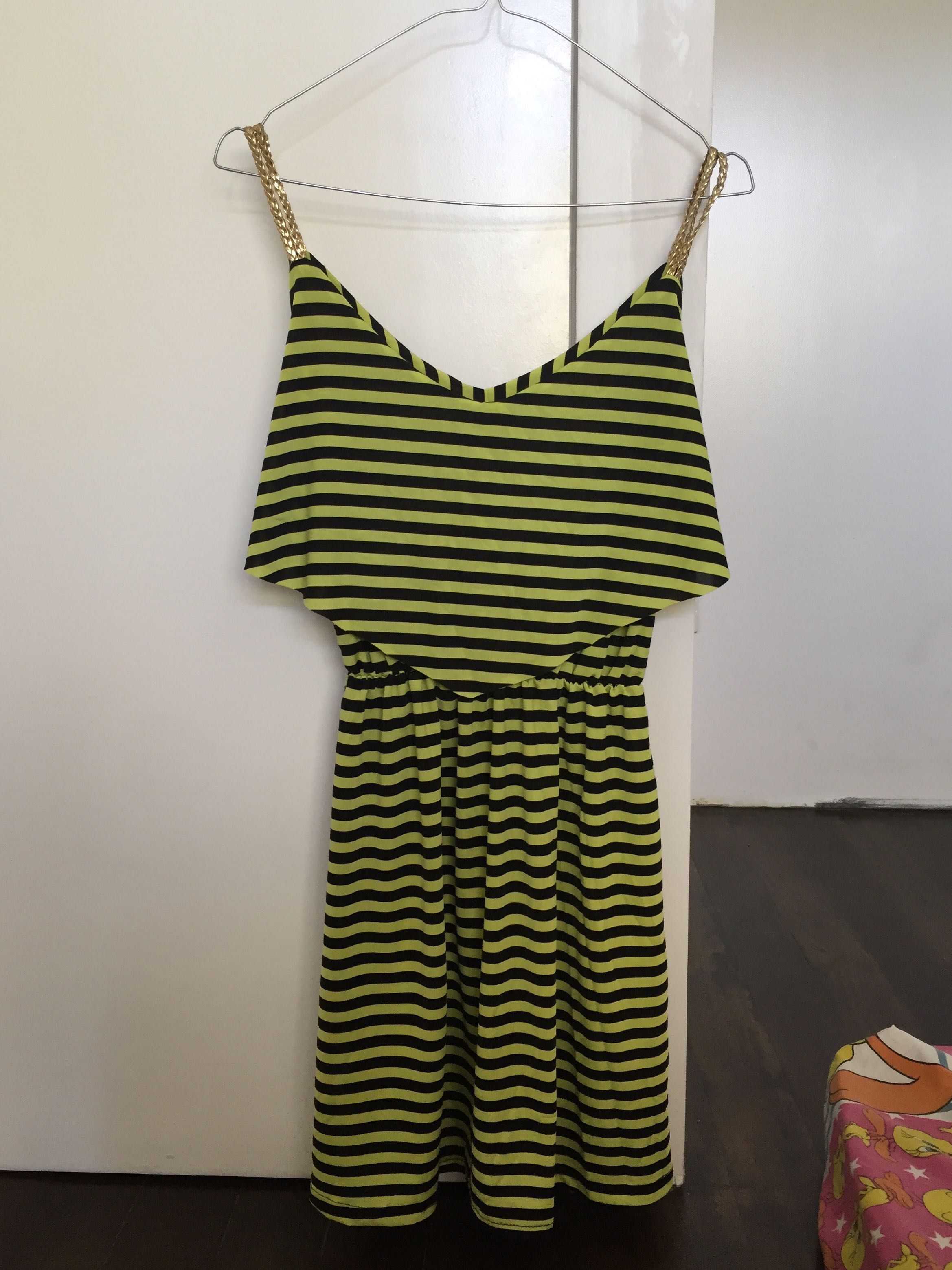 Gold Strapped Green and Black Striped Dress