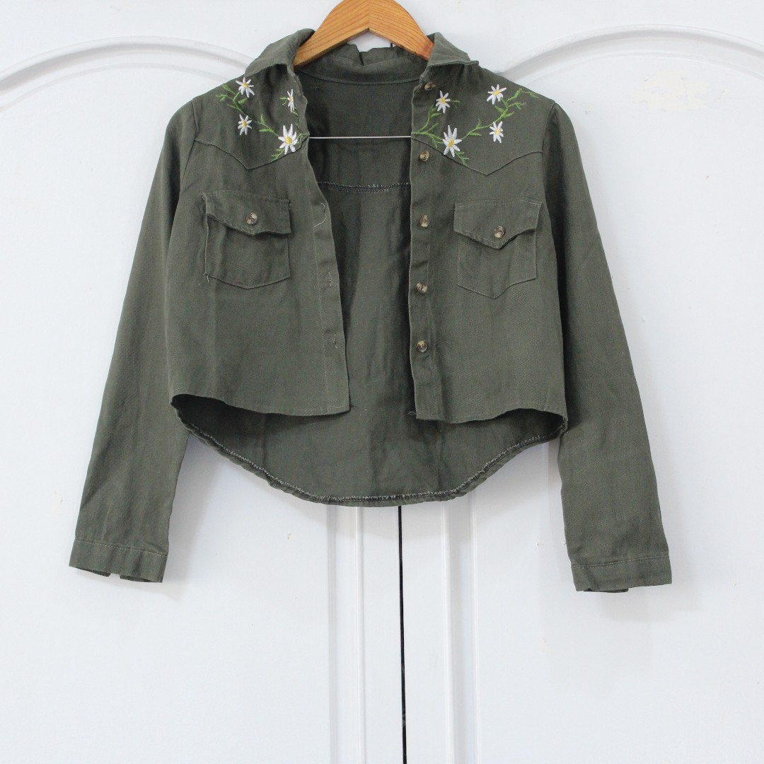 [RESERVED] Green Cropped Jacket