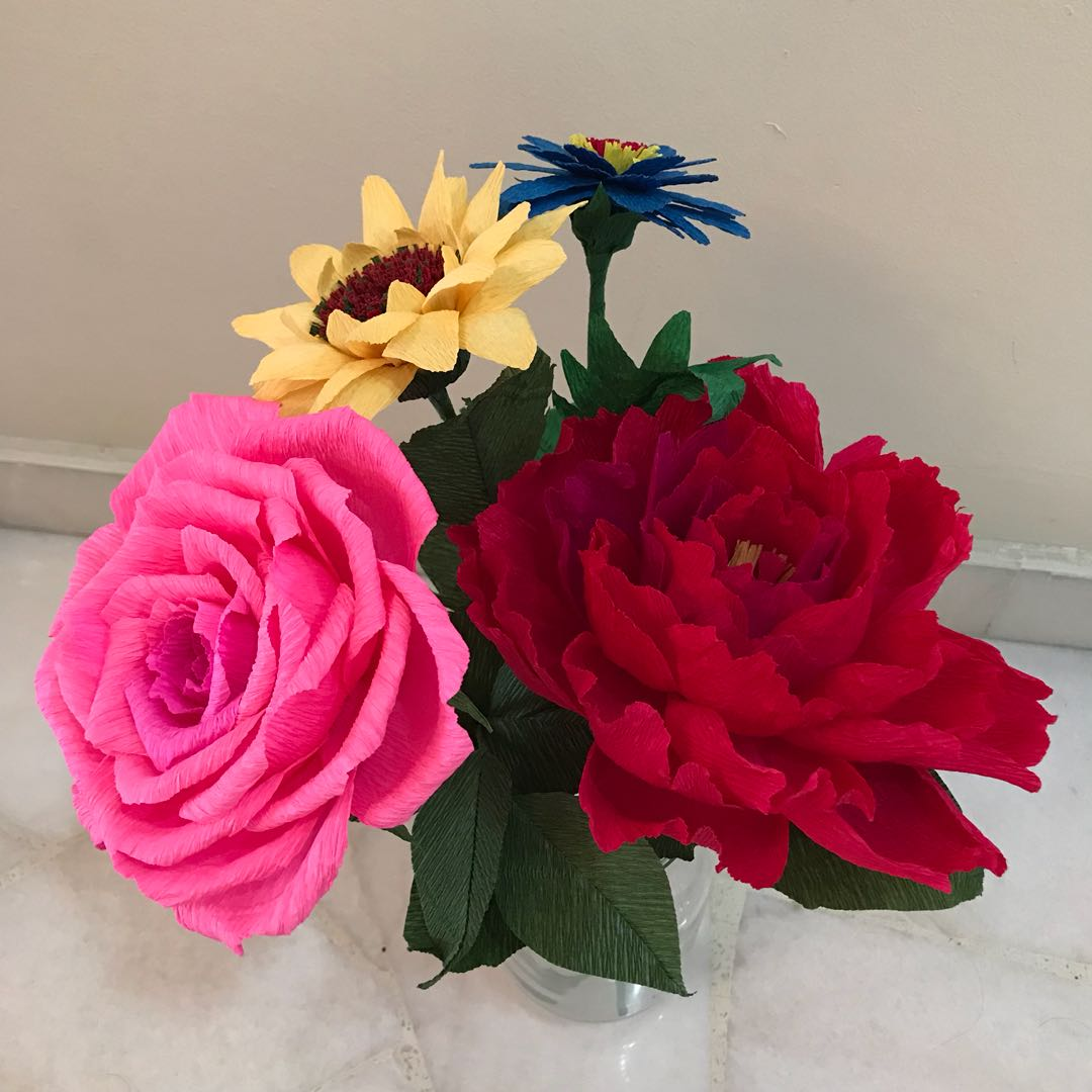 Handmade flowers made of italy crepe paper furniture home decor on handmade flowers made of italy crepe paper furniture home decor on carousell mightylinksfo