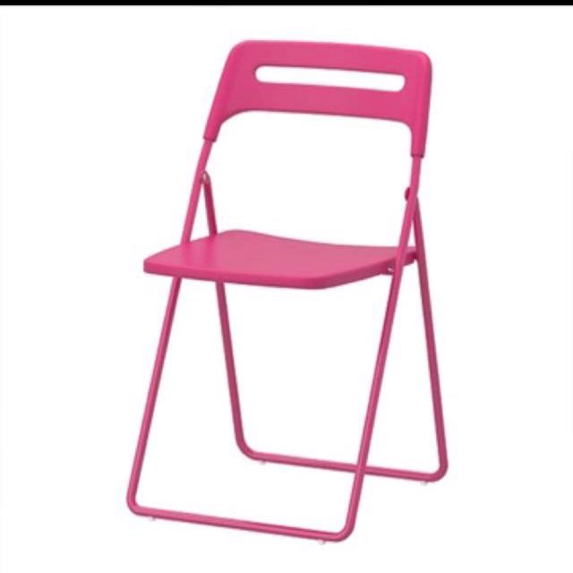 IKEA NISSE FOLDING CHAIR- PINK, Furniture, Tables & Chairs