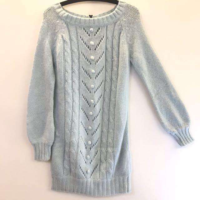 INGNI 粉藍色 長版 長袖 毛衣