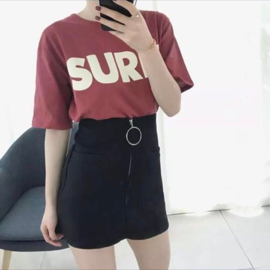 3d8fc3945 INSTOCK Black Ring High Waist Zipper A Line Skirt, Women's Fashion,  Clothes, Dresses & Skirts on Carousell