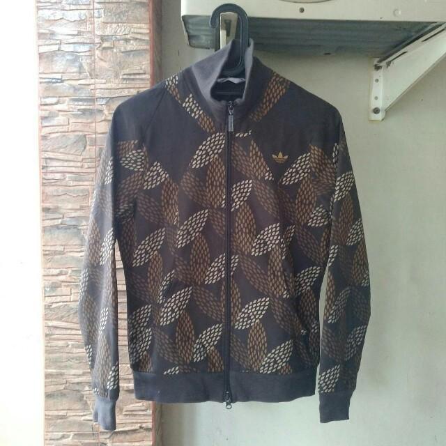 Jaket Adidas Motif Bunga Coklat Ori