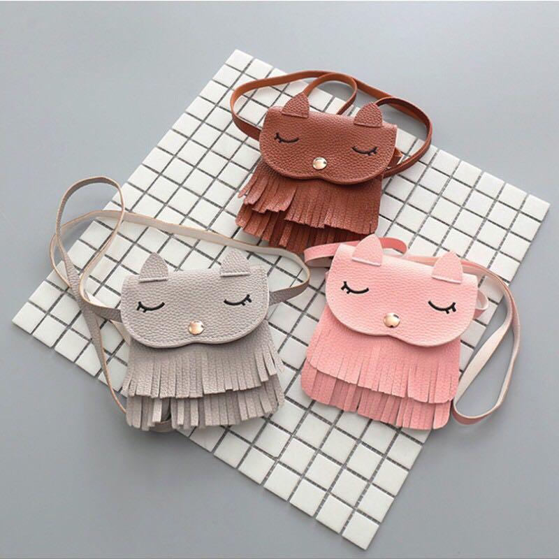Kids Girls PU Leather Tassel Mini Sling Bag