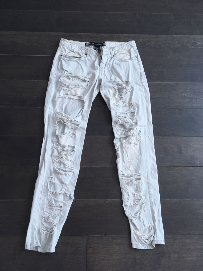 light washed jeans with holes