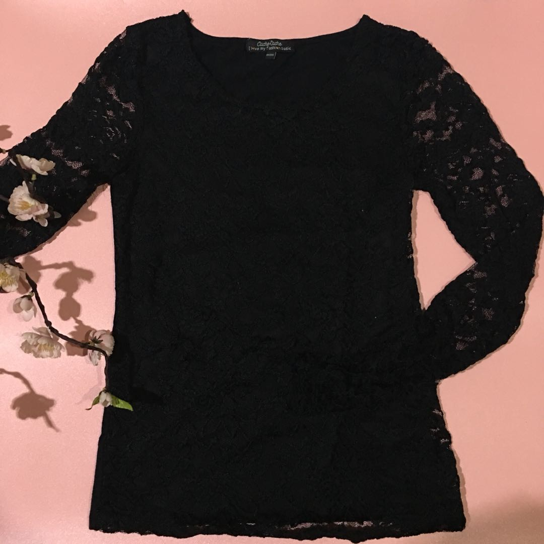 Long sleeve lacy black top