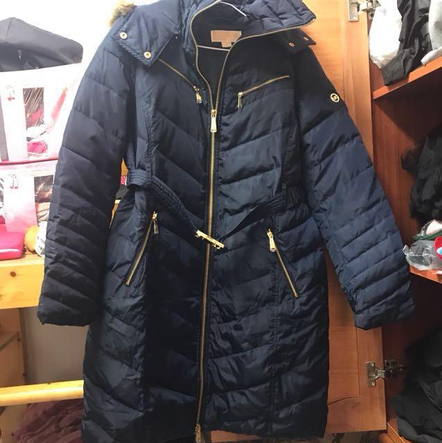 Michael Kors深藍色長版羽絨外套(降價出售