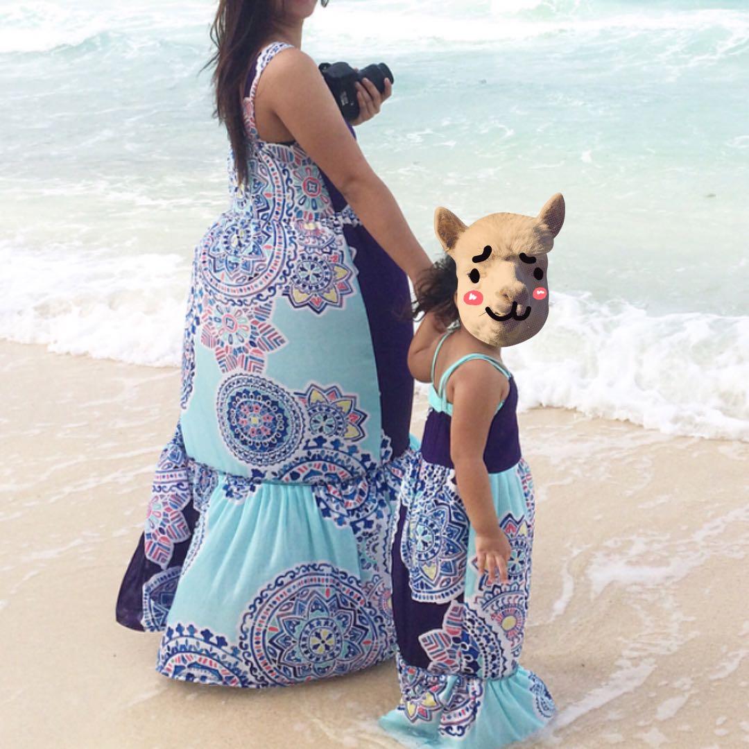 Mom&Baby Blue Paisley Maxi Dress
