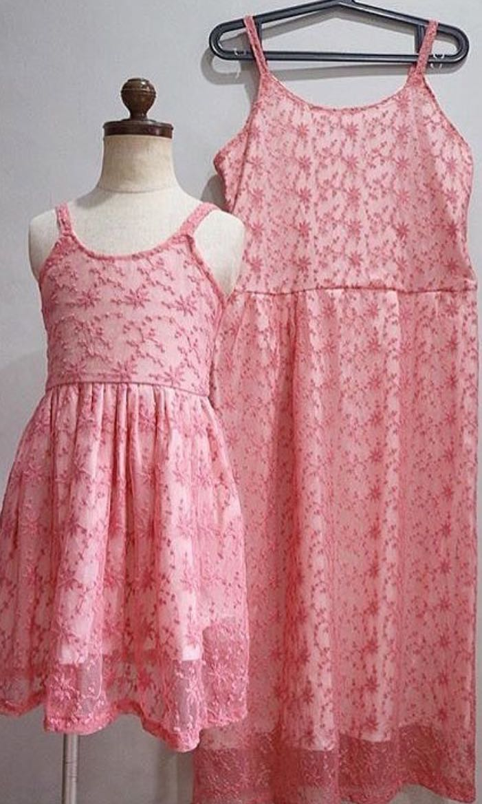 Mom&Baby Pink Embroidered Dress