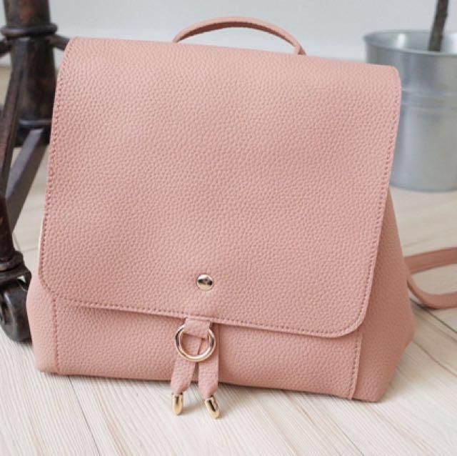 Muura粉紅色軟皮荔枝紋 肩背包 翻蓋後背包 $300 降價