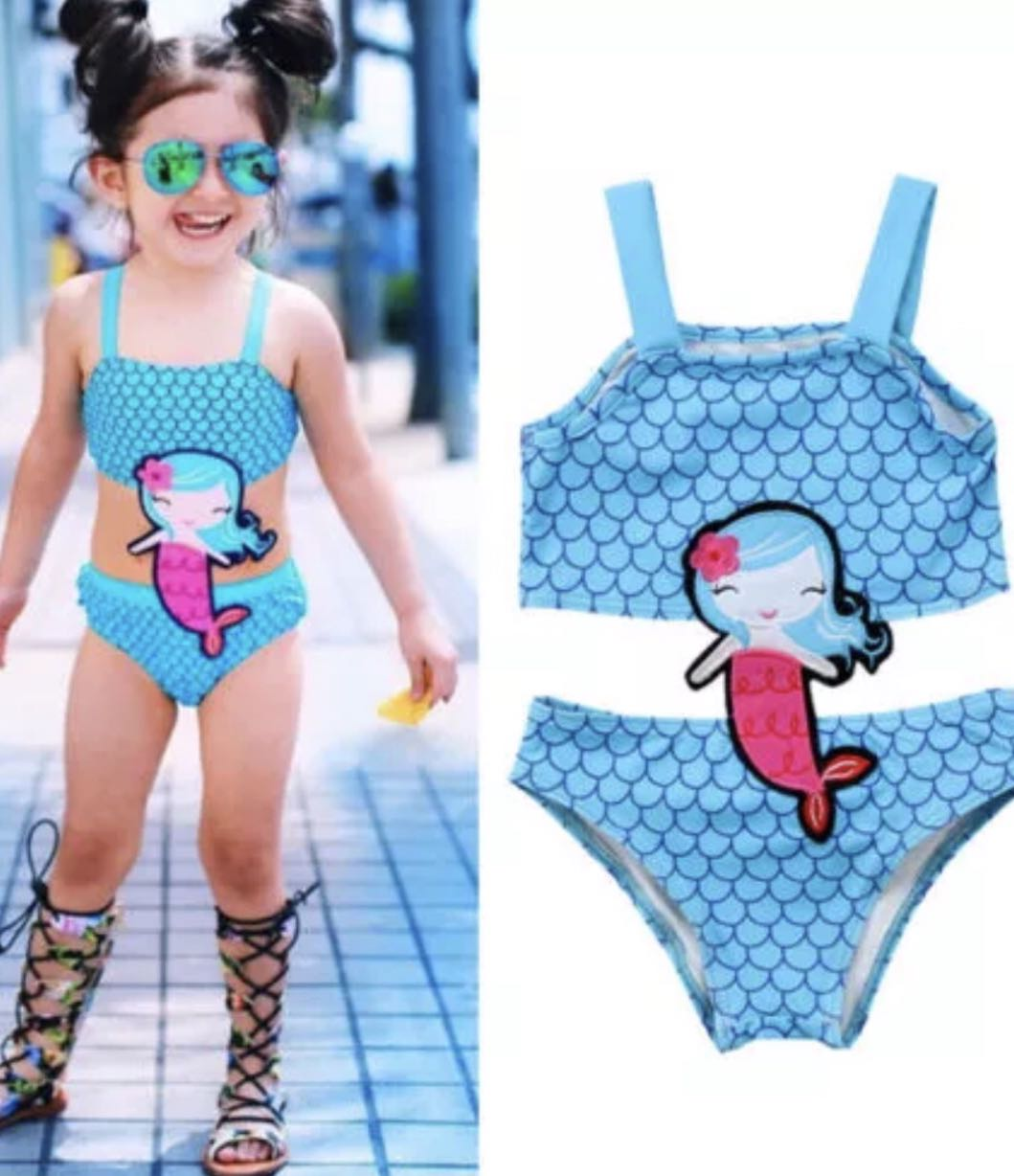 d2359c8b164c New design - Little Mermaid Blue Fish Scales Swimming Costume ...