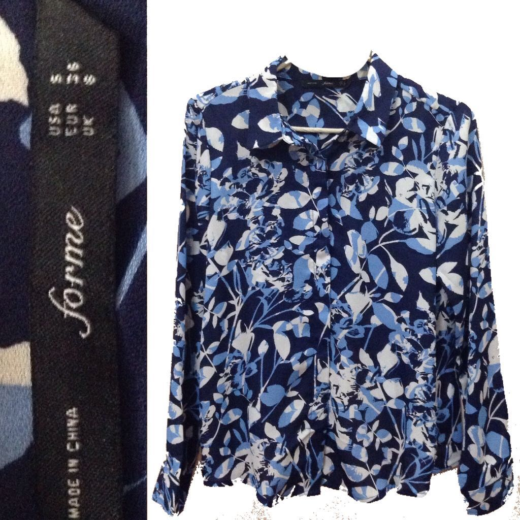 New:free SF For Me blue floral polo