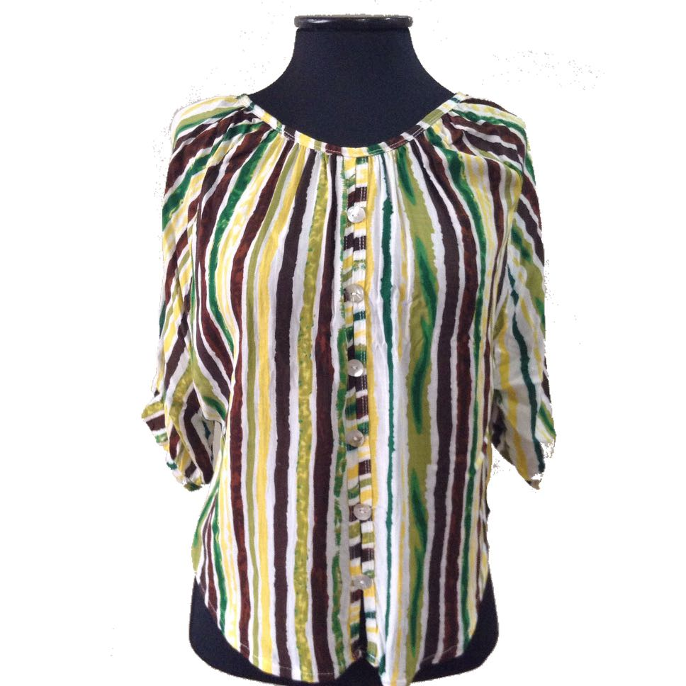 New:Yellow green stripes top