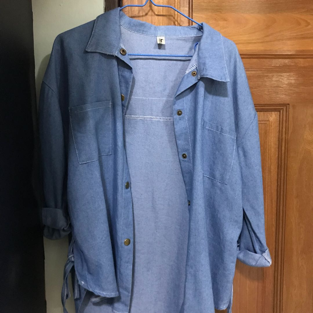 famous designer brand nice shoes 2019 clearance sale Oversized Soft denim jacket with lace up details, Women's ...