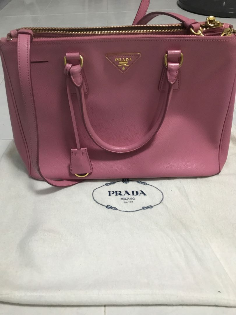 d70253507f1 Prada Galleria Double Medium Saffiano Lux Zip Tote Hot Pink, Women's ...