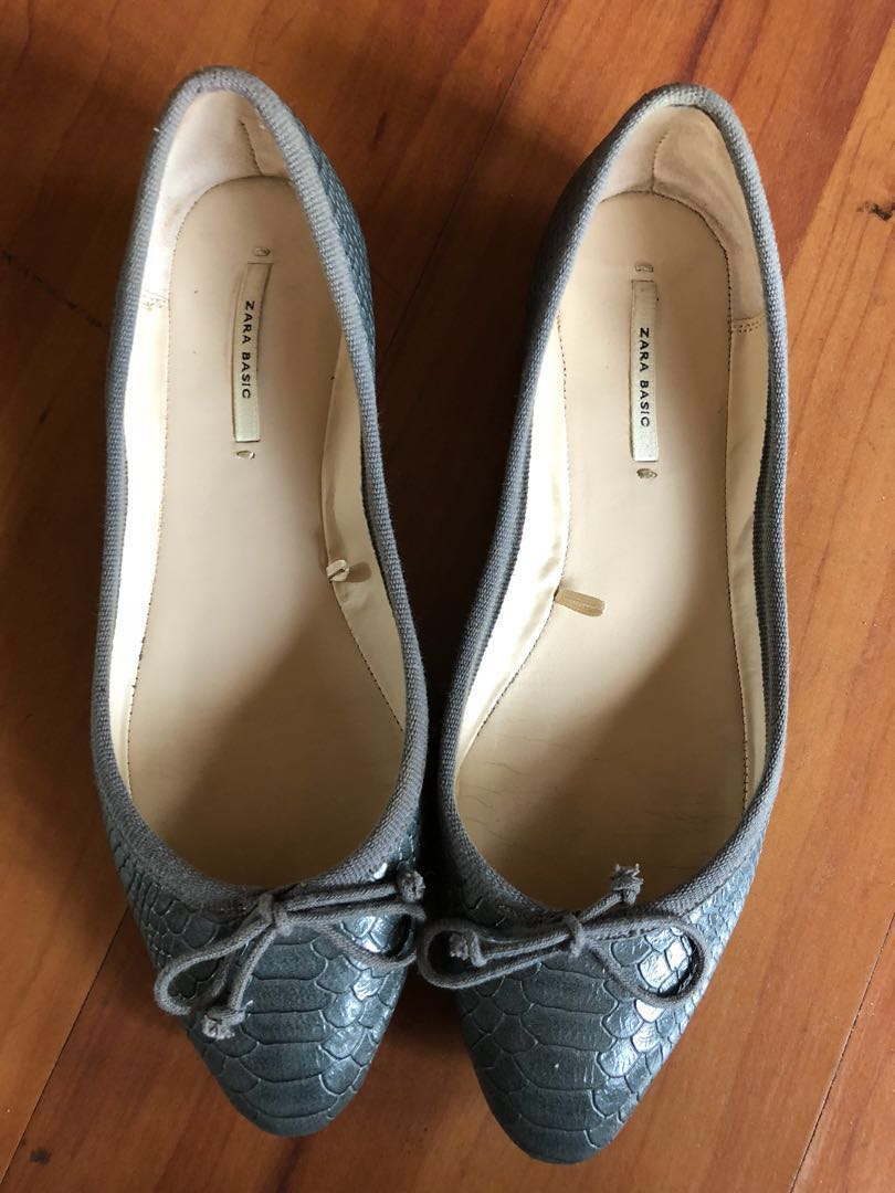 Preloved Gray Zara Leather Flats