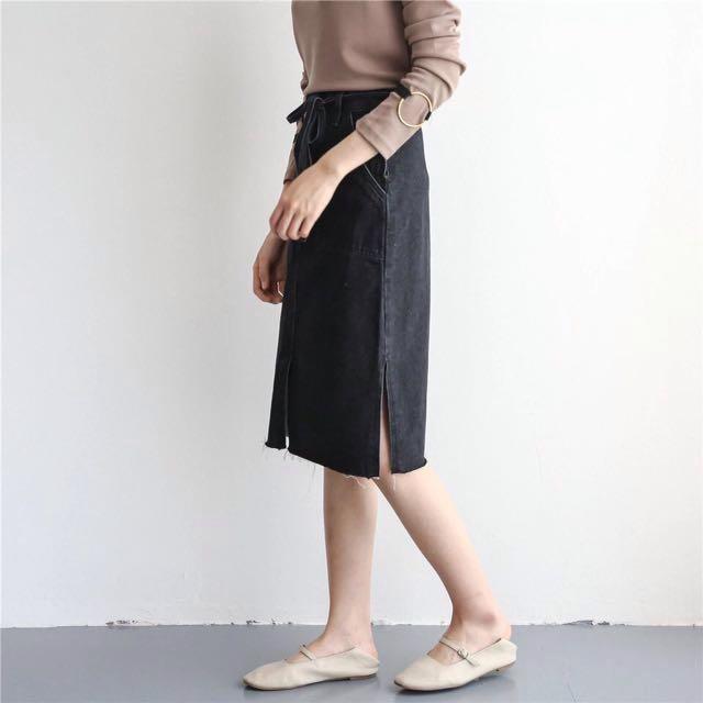[PURE] 夏天 中高腰 百搭 牛仔 黑色 水洗 綁腰 造型 側開 長裙 短裙