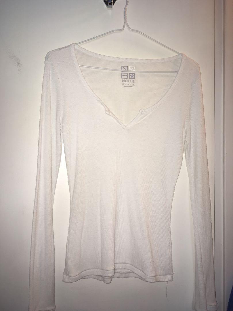 Slim fit white long sleeve shirt