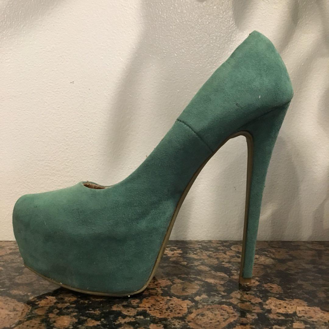 Suede Green Heels