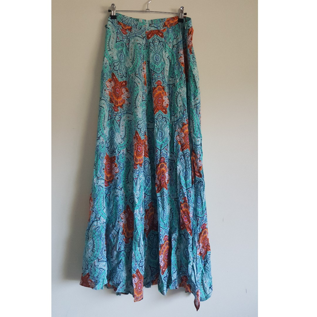 Teal Patterned Maxi Skirt