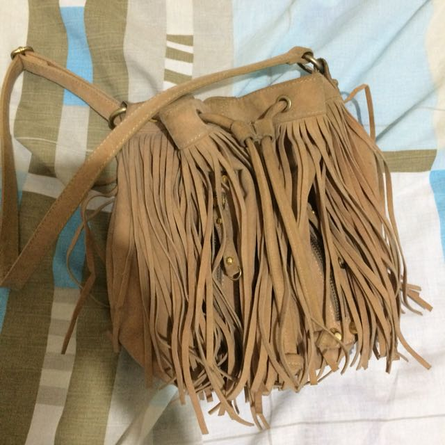 Thrifted Jeanasis Fringe Suede Bag