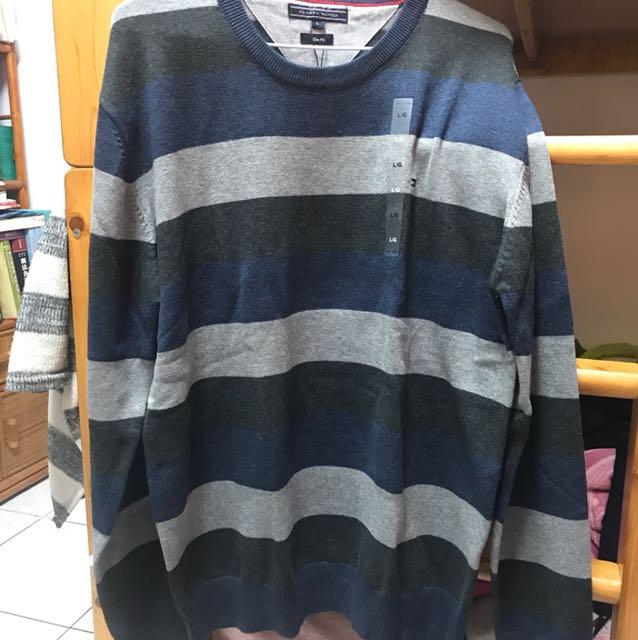 Tommy藍條紋毛衣L號