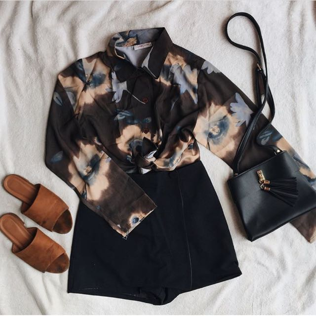 Topshop inspired floral long sleeves in Brown