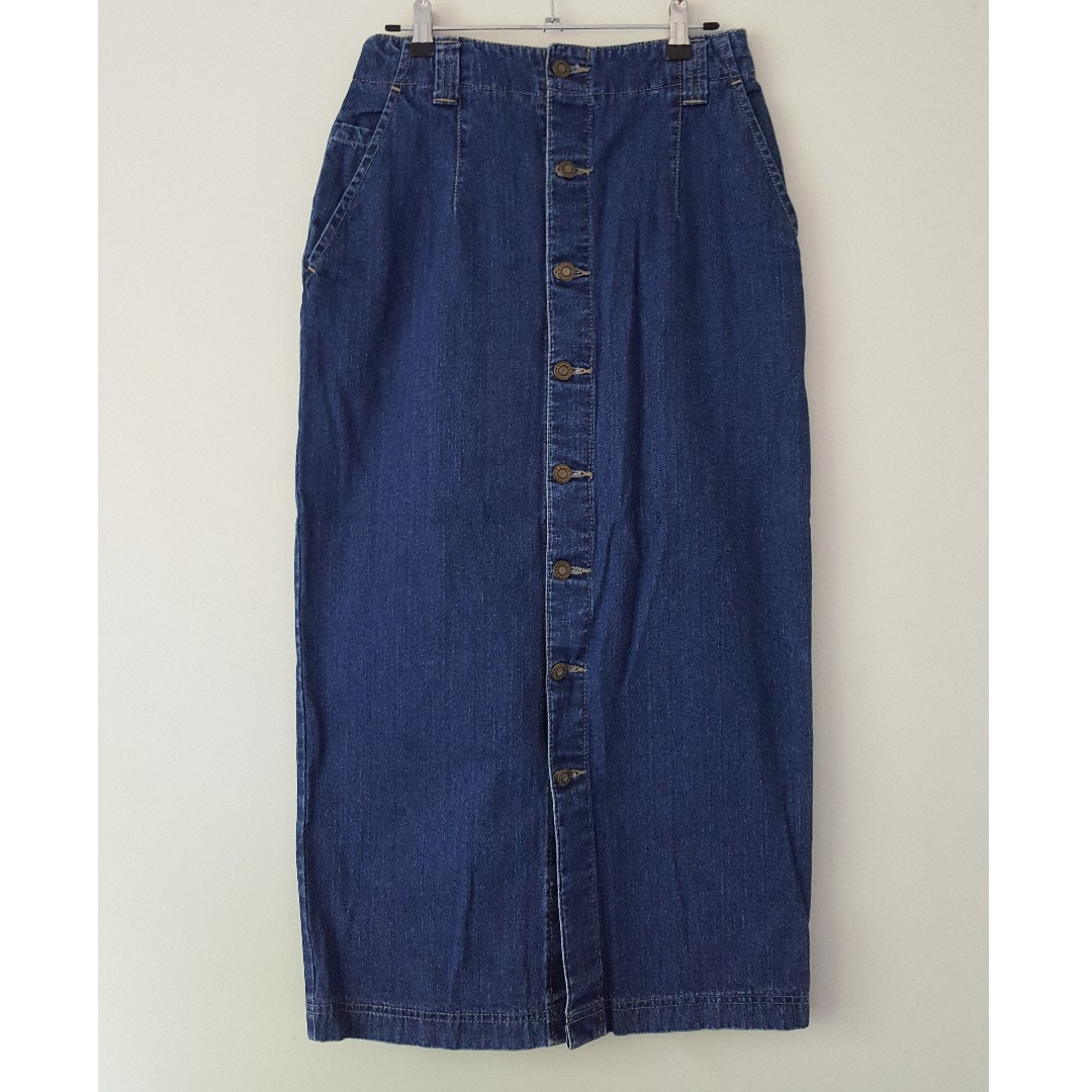 Vintage Denim Long Skirt