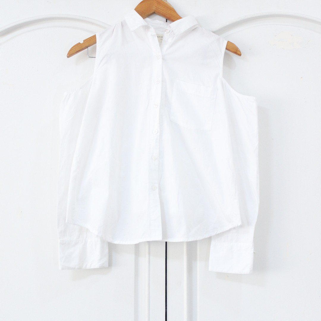 White Cold-shoulder Top