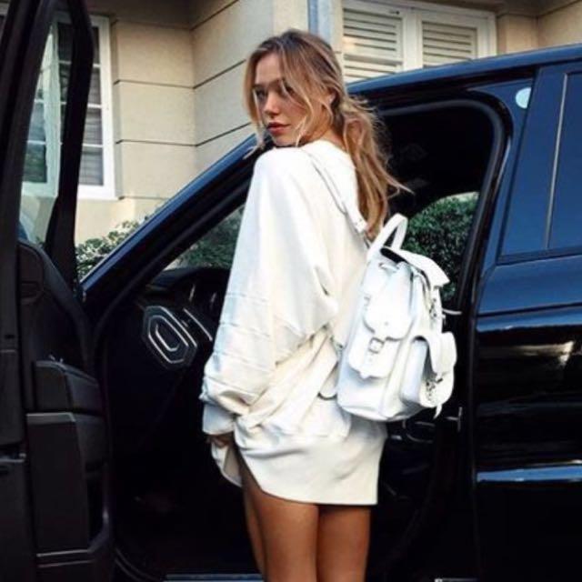 White Leather Bag Alexis Ren