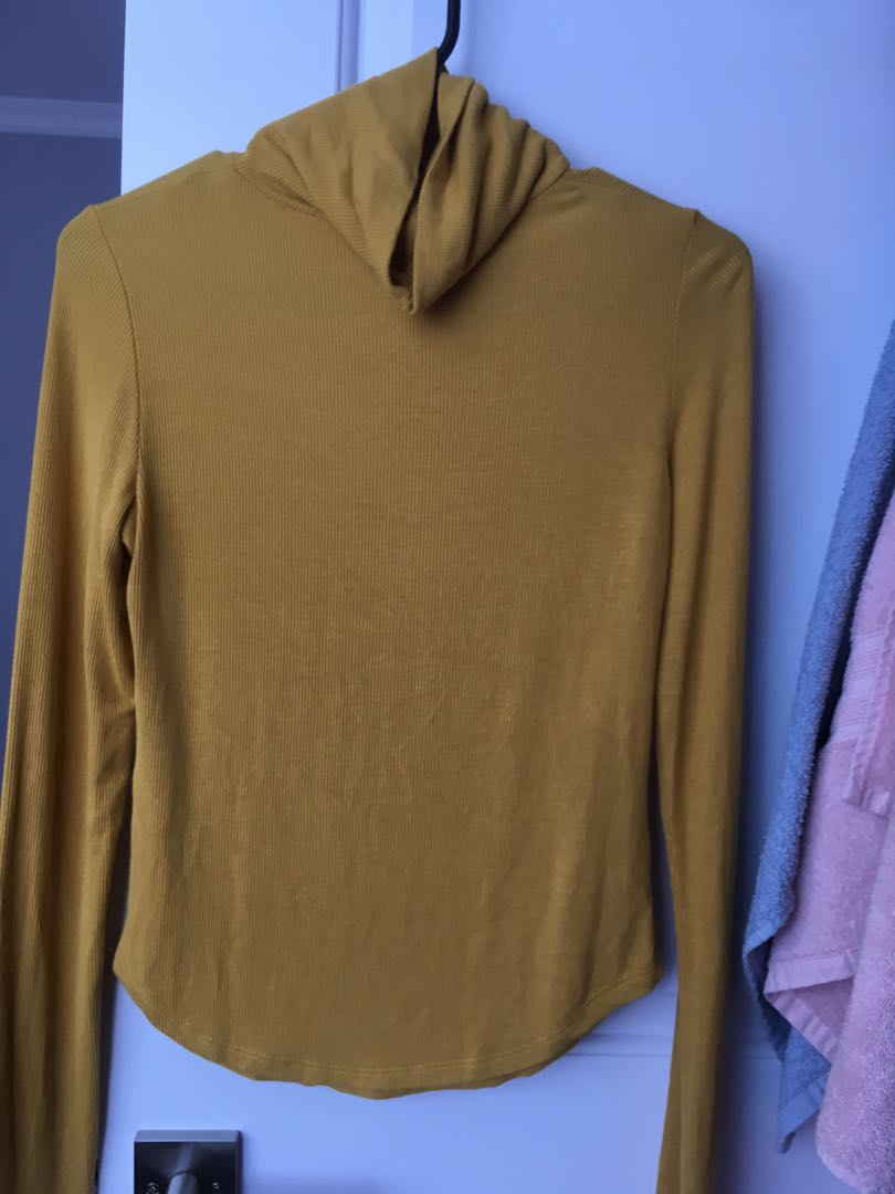 yellow long sleeve turtle neck