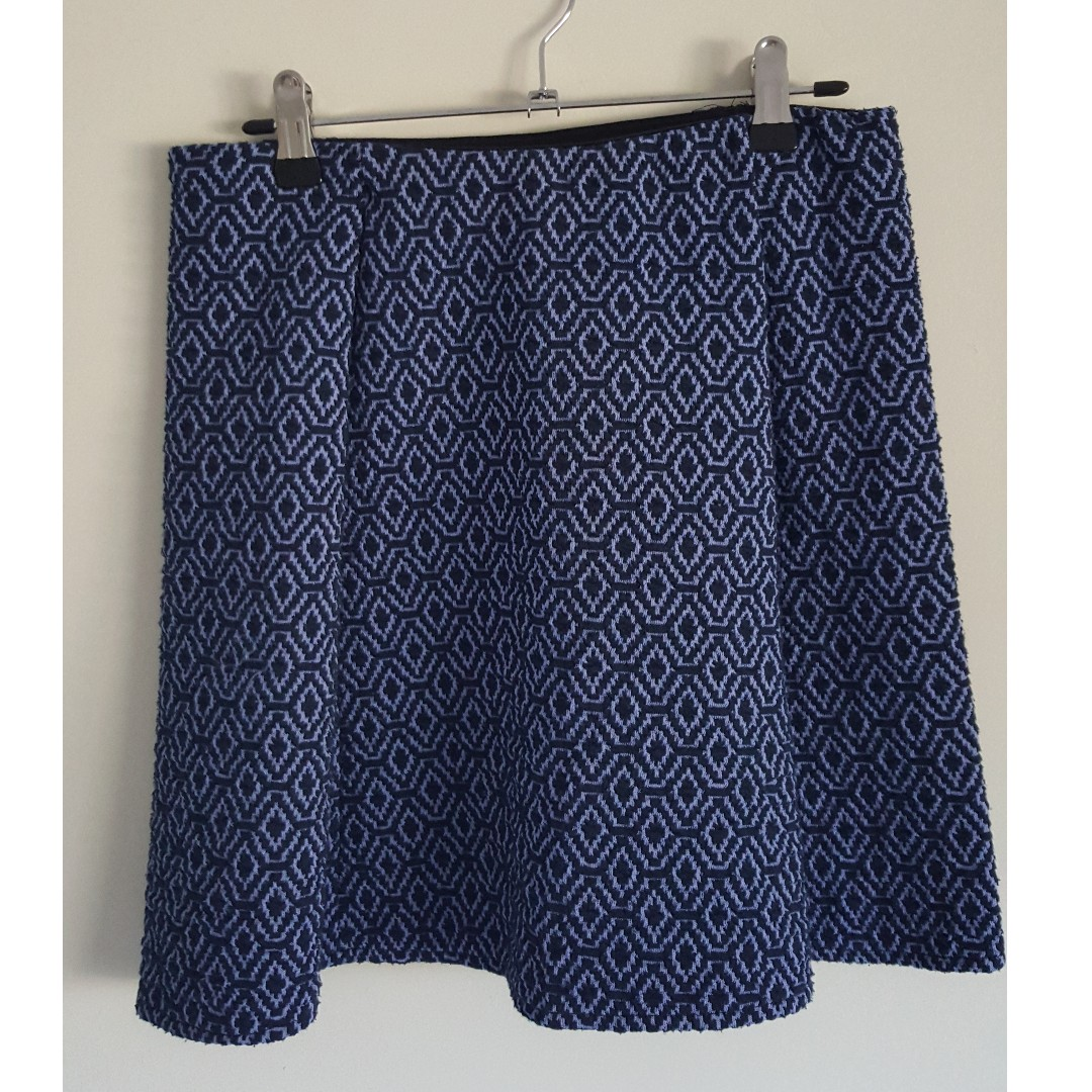 Zara Blue Pattern Skirt