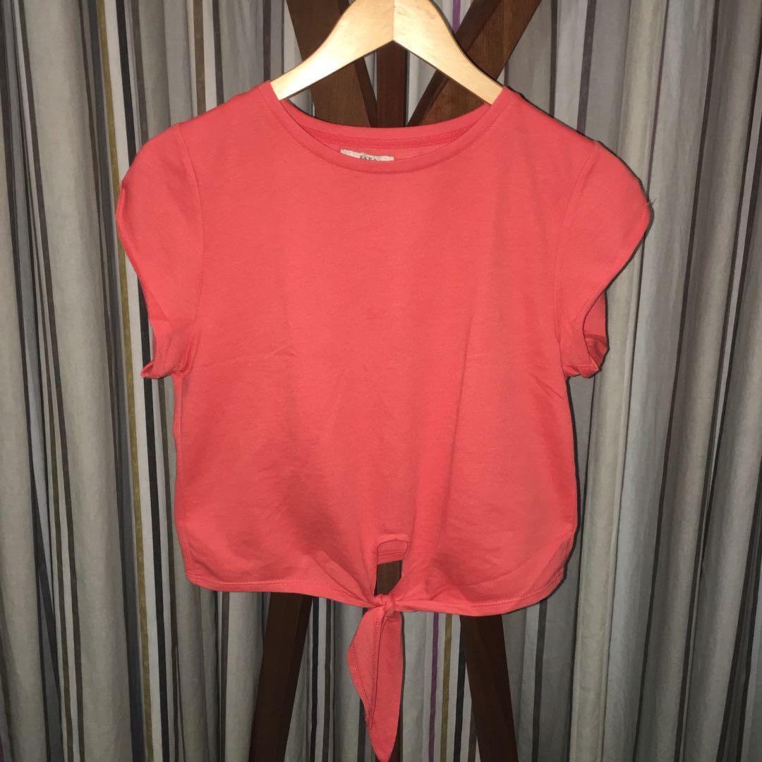Zara Orange Tie Up Top