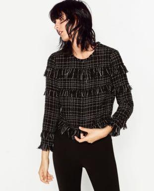 Zara Tweed Long Sleeve Black Top