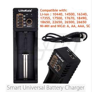 *Original* LiitoKala 1 Single Slot USB Smart Universal Battery Charger AA AAA 18650 26650 16340 RCR123 14500 LiFePO4 1.2V Ni-MH Ni-Cd